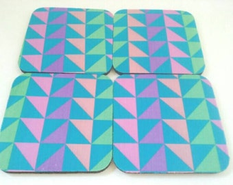 Set Of Four Rubber Geometric Design Coasters, Drink Coasters, Rubber Coasters, Geometric Coasters, Heat Press Coasters, Made By Mod.