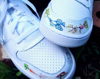 Hand Painted Botanical Illustation Athletic Sneakers