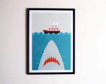 Shark Print A3 - Jaws Print, Shark Illustration, Wall art, Home decor, Office art, Boat Print, Papercut, Boat Illustration