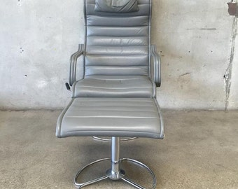 Aluminum Frame & Leather Lounge Chair with Ottoman (HQ3J9E)