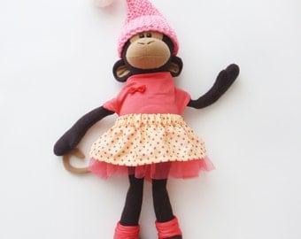 Plush monkey, Stuffed animal, fabric doll, baby shower gift, nursery decor, kids toys, handmade toys, plush monkey, toy for girl
