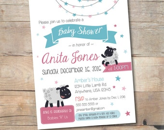 Sheep baby shower invitation, Little lamb theme invite, Moon and star, Shower invite for boys, girls, gender neutral, Personalized printable