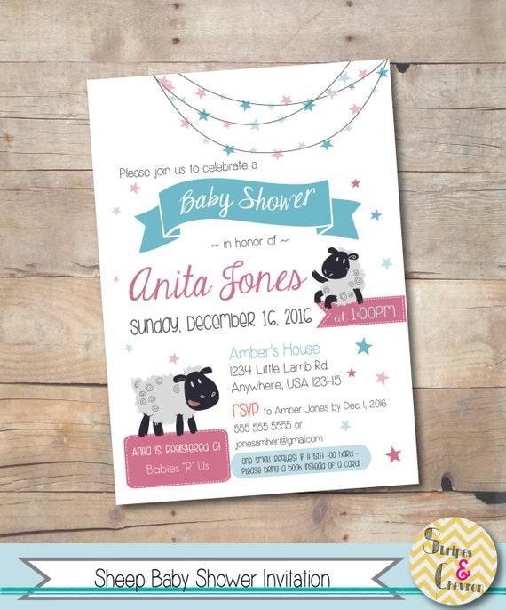 sheep baby shower invitation little lamb theme invite moon, Baby shower invitations
