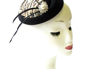 Black Cream Brown Partridge Feather Pillbox Hat Fascinator Hair Races Vtg 1538