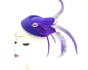 Purple Silver Feather Pillbox Hat Hair Fascinator Races Ascot Headpiece 2286