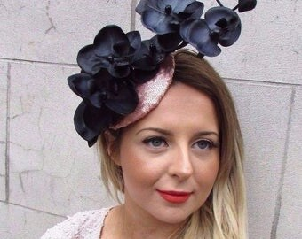 Rose Gold Black Sequin Orchid Flower Fascinator Hat Races Hair Clip Vintage 2723