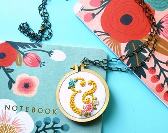Floral Ampersand Necklace, Initials, Hand Embroidered Necklace, Miniature Hoop Necklace, Gift for Her, Christmas Gift Idea, Handmade Jewelry