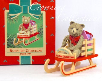 1984 Hallmark Baby's First Christmas Ornament Keepsake Teddy Bear on Sled RARE Baby Vintage