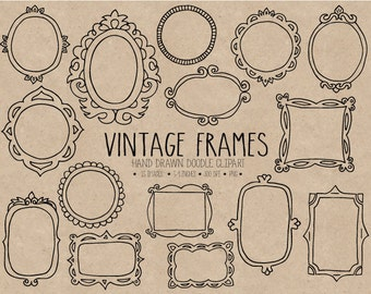 70% OFF SALE. Hand Drawn Frames Clipart. Doodle Frames Clipart. Vintage Scrapbooking Borders, Tags & Labels. Photo Overlays, Digital Frames