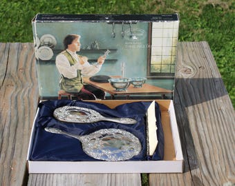 Paul Revere Silversmiths Silver Plated 3 Piece Dresser Set, Vanity Set 1987