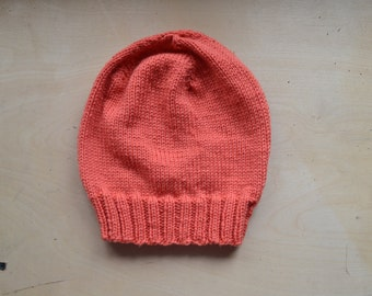 Coral Slouchy Knit Hat - Ready to Ship