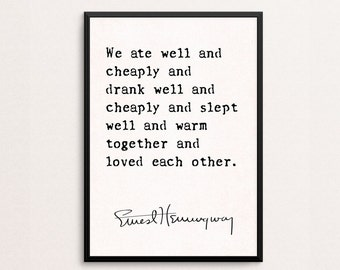 Ernest Hemingway Quote Print, A Moveable Feast, Literary Quote Print, First Anniversary, Love Quote, Typography Poster, Hemingway Quote