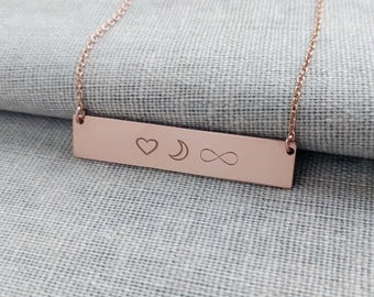 I Love You to The Moon and Back Necklace,Love Bar Necklace,Customized Symbol Bar Necklace, Moon Nekclace,Infinity Bar Necklace