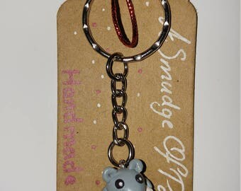 Adorable Fruits Basket Grey Rat Yuki Sohma Tohru Rice Ball Onigiri Polymer Clay Key Chain Key Ring