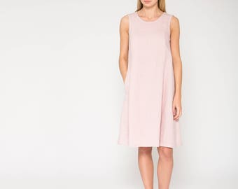 Swingy Pink Linen Dress with Pockets