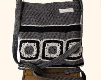 Bag with granny squares , Striped Bag , Crochet bag Pattern