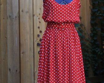 Vintage 1980's Cotton Red Polka Dot Deep Scoop Neck Dress With Pockets And Matching Belt Dress Size 14