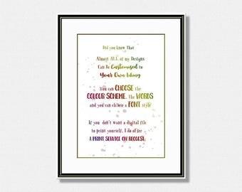 Rainbow Quote Print, Custom Wall Art Print, Personalised Quote, Custom Typography Print, Digital Download