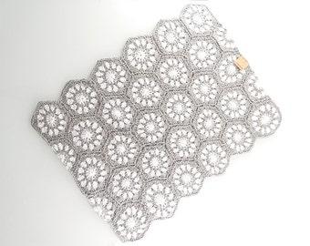 Crochet Baby Blanket, Crib Blanket, Hexagon Crochet, Handmade Throw, Bio Cotton Afghan, Baby Shower Gift, Soon to Be Mom