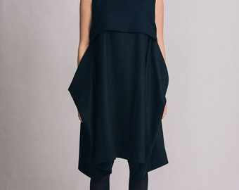 Black lagenlook dress / Black asymmetric dress / Casual black dress / Sleeveless dress / Elegant woman dress / Fasada 1604