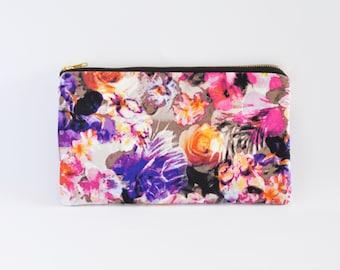 Clutch Bag, Clutch Purse, Zipper Clutch, Clutch Wallet - Floral Watercolour