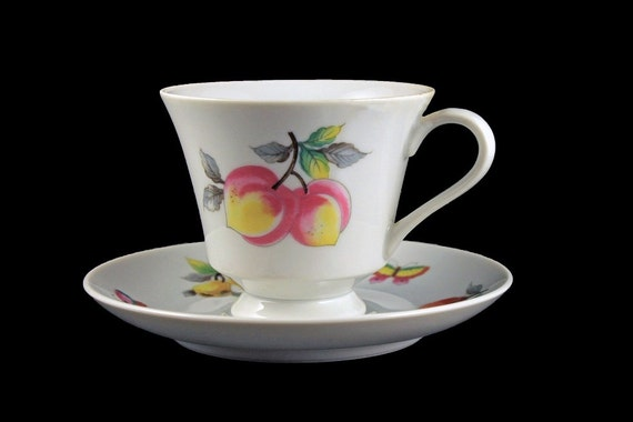 Teacup and Saucer, Andrea by Sadek, Made in Japan, Fruit, Butterfly