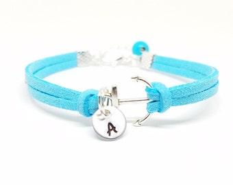 Personalized Anchor Bracelet | Custom Initial Bracelet | Anchor Charm Bracelet | Bridesmaids Jewelry | Silver Nautical Bracelet