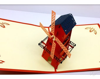 3D Pop Up Dutch Windmill Card