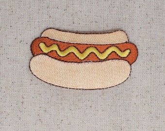 Hot Dog - Bun - Mustard - Picnic Food - Iron on Applique - Embroidered Patch - 695481A