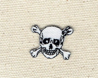 Small/Mini - Jolly Roger - Black/White - Skull with Crossbones - Iron on Applique - Embroidered Patch - 697134-A