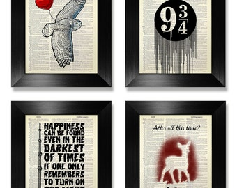 HARRY POTTER GIFT Set, Harry Potter Print Set of 4, Harry Potter Decor, Harry Potter Art Print, Harry Potter Home Decor, Harry Potter Poster