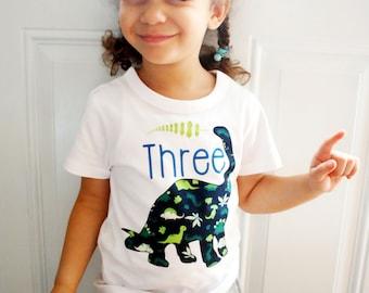 Dinosaur Birthday Shirt, Third Birthday T-shirt, Toddler Clothing, Dinosaur Boy Clothing, Dinosaur Birthday Shirt, Brachiosaurus Toddler Tee