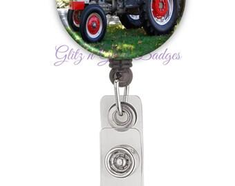 Tractor Badge Clip Reel, Farming Retractable ID Badge Holder Reel, Farmer Badge Reel, Country Retractable Badge Reel, Tractor ID Clip, G1281