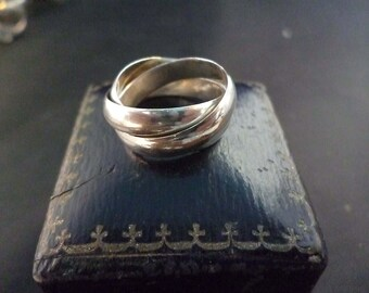 Vintage - puzzle ring - 925 - sterling silver - UK E - US 2.5