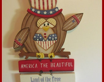 Patriotic Owl, USA,America, Forth of July,Door decor, wall decoration, Teacher gift,