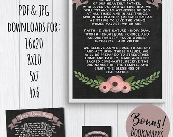 """LDS Young Women Theme Posters & Bookmark """"We are daughters of our Heavenly Father..."""""""