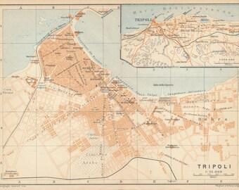 1930 Tripoli Libya Antique Map