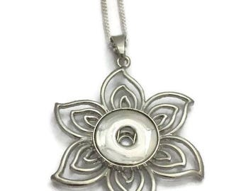 Silver Flower Snap Necklace- Snap Interchangeable Necklace- Snap Button Jewelry- Fits all Standard 18mm Snap Charms and Snap Buttons