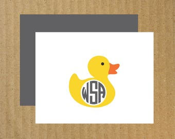 Rubber Duck Note Cards, Set of 10, Duck Cards, Rubber Duck Monogram, Baby Thank You Cards, Thank You Cards, Rubber Duck Stationery, Duck