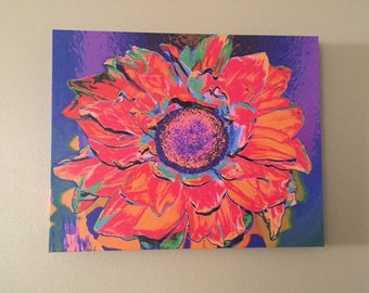 Colorful Sunflower Artistic Photo on Canvas