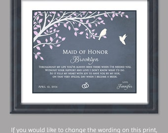 Maid of Honor Gift - Gift For Maid of Honor - Sister Bridesmaid Gift - Best Friend Wedding Print - Maid of Honor Poem - Bridesmaid Poem