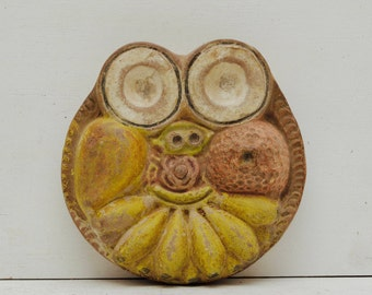 Vintage Terra Cotta Fruit Face Wall Hanging; Tribal Pottery Mask; Weird Primitive Folk Art; FREE SHIPPING U.S.A.