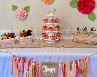 Horse Birthday Banner, Cowgirl Party Decor, Pony Nursery Garland, Barnyard Banner, Horse banner, Cowgirl Birthday Sign, Pony Party Pink, 2nd