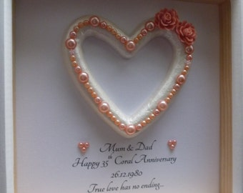 35th Wedding Anniversary gift, 35th Anniversary gift, coral wedding anniversary, coral anniversary gift, Coral wedding, personalised frame