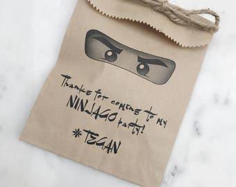 Ninjago Party Favor Bags - Kids Birthday Collection - Favor Bags - Custom Printed on Kraft Brown Paper Bags