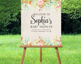 Baby Shower Welcome Sign Printable Floral Boho Baby Shower Welcome Sign Large Floral Shower Welcome Sign Welcome to our Baby SHower Sign