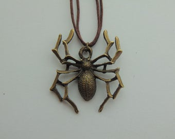 Bronze Spider Pendant Necklace