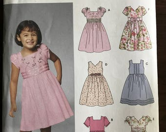Simplicity 5704 - Easy to Sew Girls Dress with Square or V Neckline and Gathered Skirt - Size 3 4 5 6 7 8