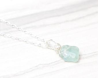 Raw Aquamarine - Rough Aquamarine - Aquamarine Necklace - March Birthstone - Aquamarine Stone - Aquamarine Pendant - Aquamarine Crystal