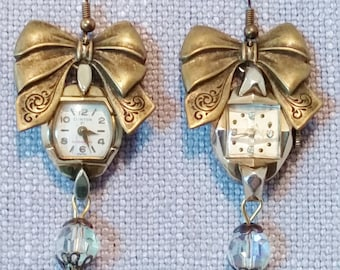 Antique Watch Earrings, Watch Face, Ladies Watch Jewelry, Victorian Bows, Vintage Crystal Beads, Dangle Upcycled Watch Dial, Fancy Earrings